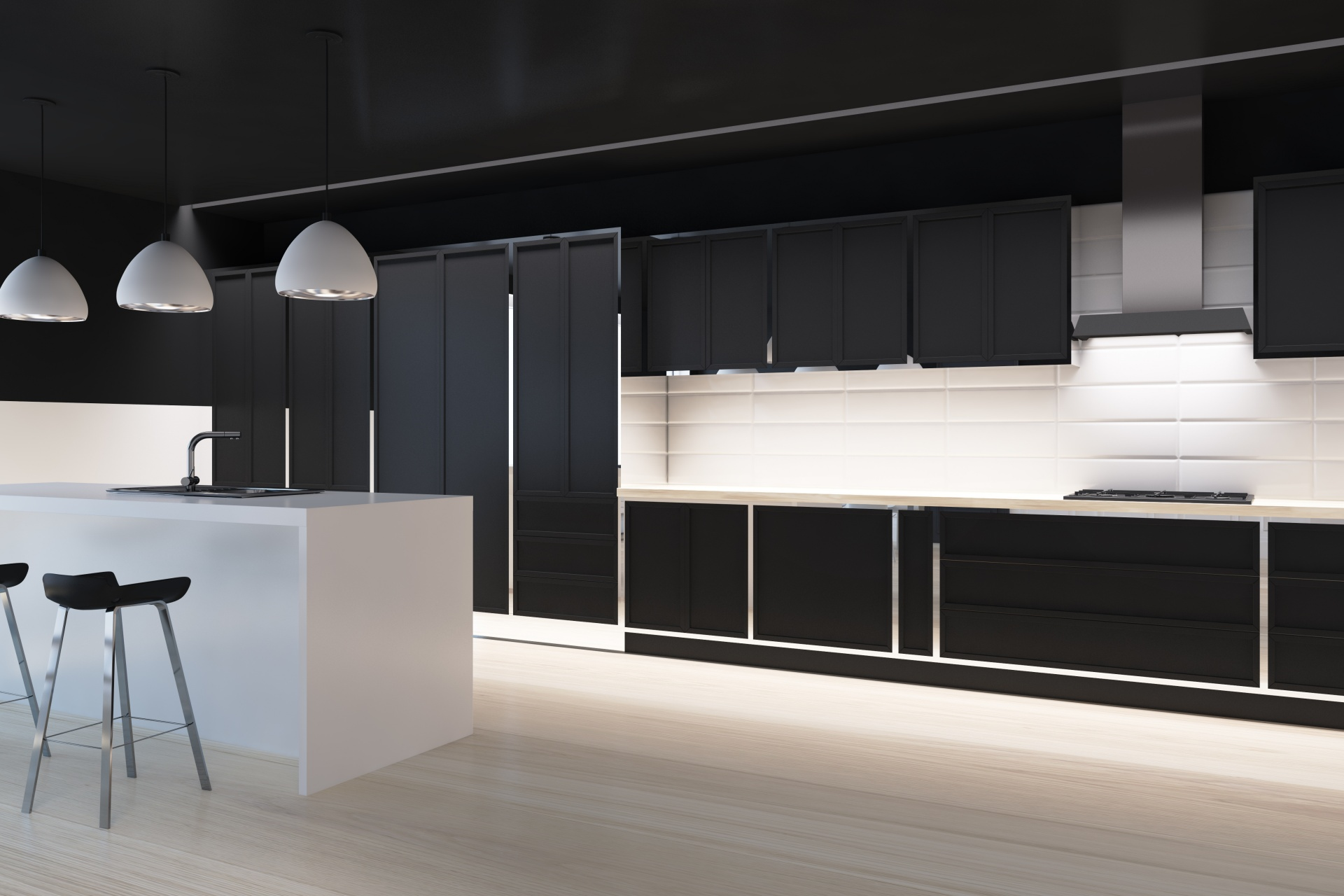 Kitchen w LED Lighting and Handles (1)